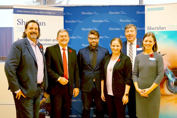 David Dexter, Associate Director, SIRT, John Oliver, Oakville MP, Brandon McFarlane, Professor, Creativity and Creative Thinking, Lia Tsotsos, Director, Centre for Elder Research, Jeff Valentin, Vice President, External Relations, Andrea England, Vice Provost, Research